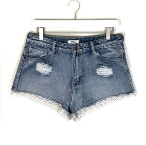 Forever 21 jean shorts high rise distressed w lace